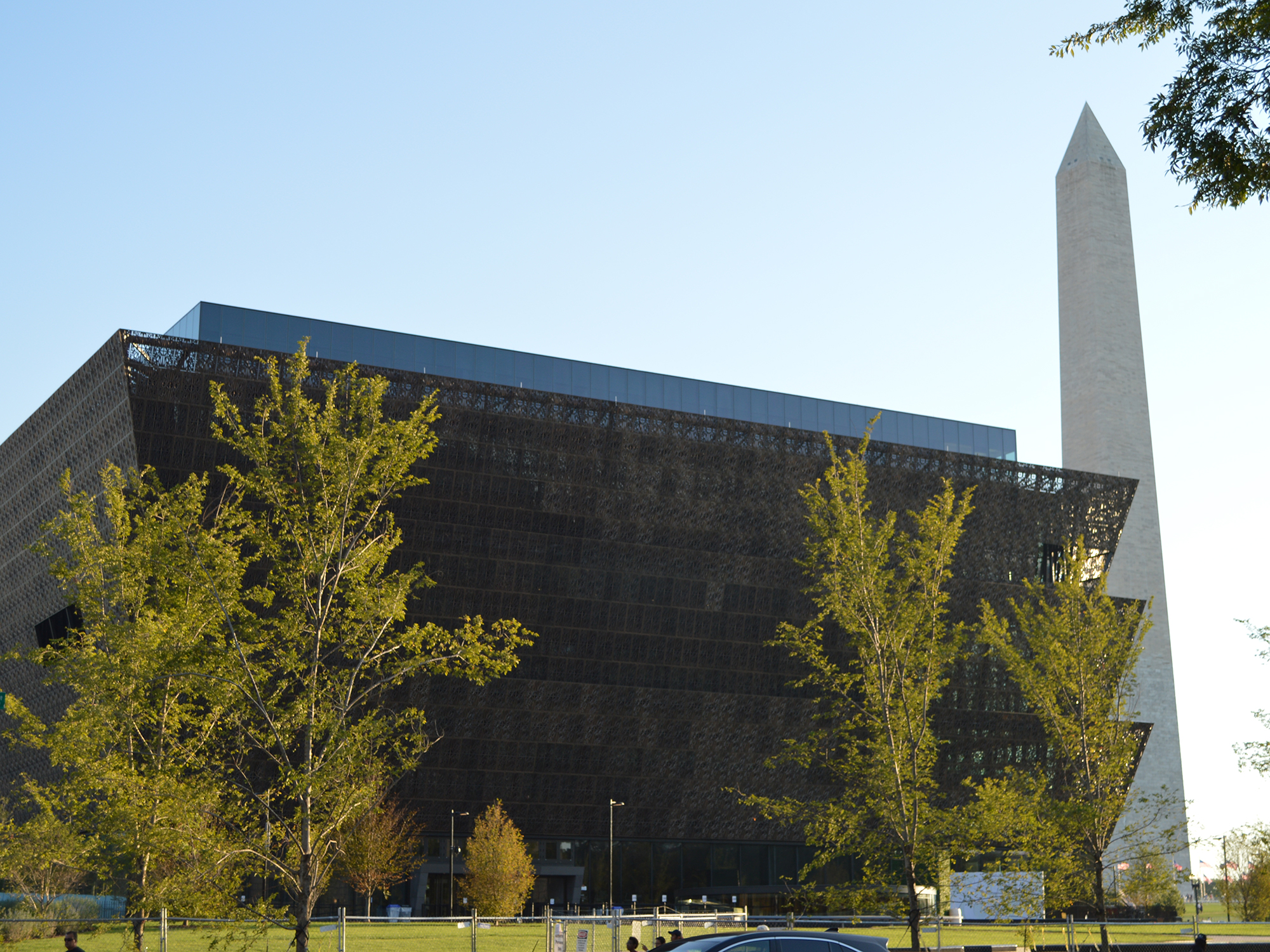 The National Museum of African American History and Culture and the Washington Monument. Photograph by Ryan Weisser.